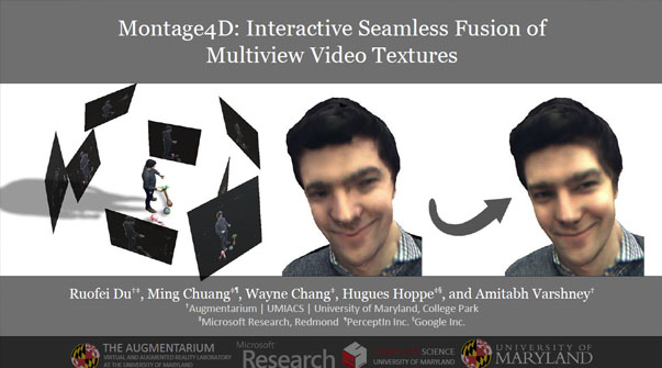 Montage4D: Interactive Seamless Fusion of Multiview Video Textures Teaser Image.